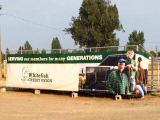 Whitefish Credit Union bleacher banner at the 2015 NW Montana Fair