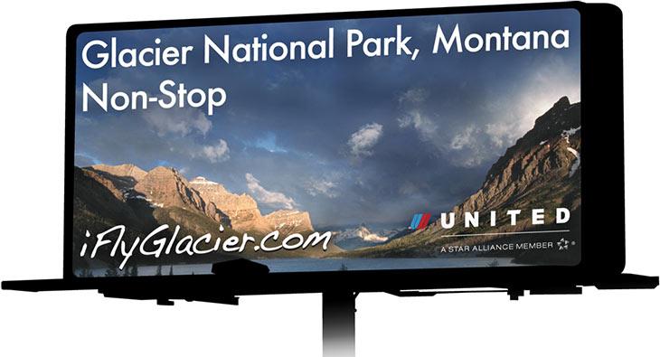 A billboard for Glacier Park International Airport, in Kalispell, MT.