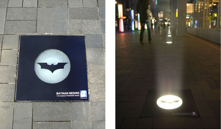 This Batman ad used section of clear vinyl adhered over light fixtures to emulate the iconic batsignal.