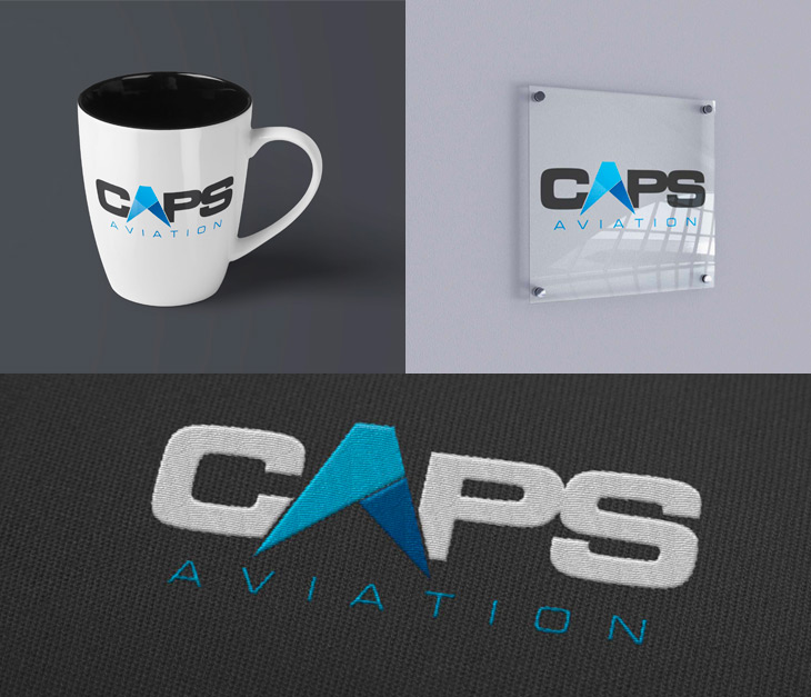 Mockups of different potential logo applications including on a mug, an office sign, and embroidered on fabric.