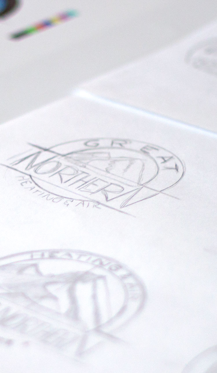 Great Northern Heating & Air logo sketches