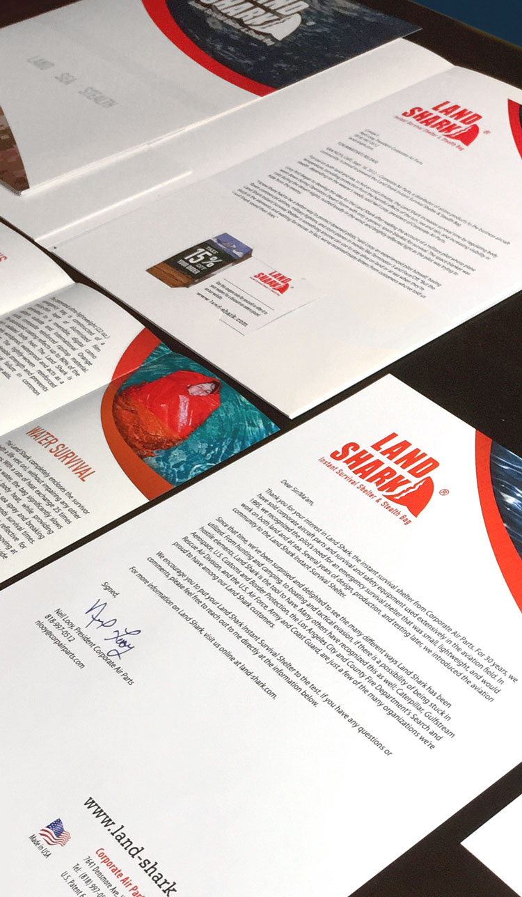 Land Shark branded business collateral
