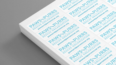 Paws & Purrs Rescue branded labels