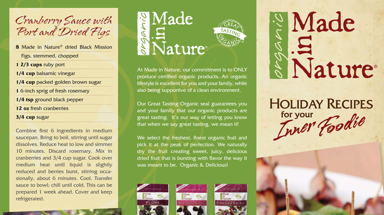 Made in Nature holiday tri-fold brochure
